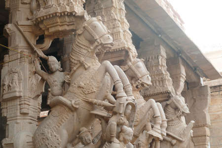 Mounted soldiers on the exterior of the Ranganatha Vishnu Temple, Tanjore, Tamil Nadu , India