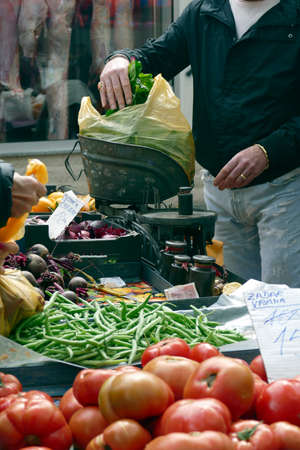 Selling fruit and vegetables at the green market of Split, Croatia