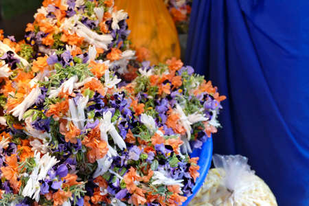 Detail of flowers in the outdoor market in Chennai, Tamil Nadu , India