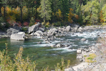 White water rapids of the Wenatchee River in Tumwater Canyon in eastern Washington