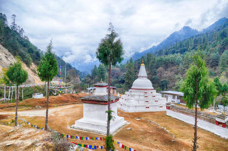 Chendebji chorten, a large white monument, which is said to have concealed the remnants of an evil spirit that was defeated here. Bhutan