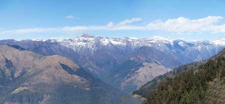 View of snowy Himalaya mountains from pass near Punakha,  Bhutan Banco de Imagens