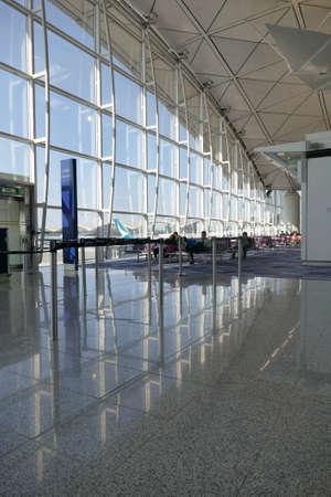 HONG KONG - DEC 7, 2019 - Waiting area at the Hong Kong International Airport, China