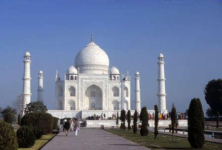 Taj Mahal, classic view of minarets & relecting pool.Agra India , Asia