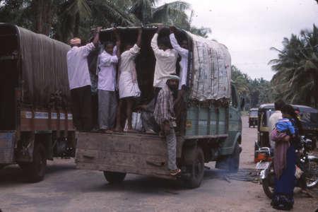 PALITANA, GUJARAT, INDIA - OCT 29, 2003 - Villagers in truck leaving weekly market,Palitana, India