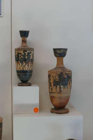 ANTALYA, TURKEY - SEP 14, 2019 - Classical Archaic Greek red on black pottery, 7th to 5th century BCE, Antalya, Turkey