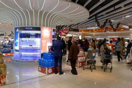 DELHI - DEC 9, 2019 - Duty Free shopping at Indira Gandhi International Airport, Delhi, India Editöryel
