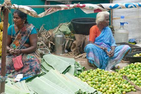 CHITAMBARAM, INDIA - DEC 28, 2019 - Local outdoor vegetable market in Chitambaram, Tamil Nadu , India
