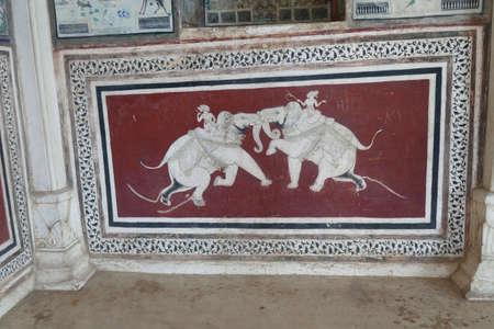 BUNDI, INDIA - JAN 10, 2020 - Elephant paintings decorate the interior of Garh Palace, Bundi, Rajasthan, India