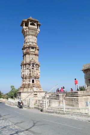Kirti Stambh    Tower of Fame,11th century Jain towerChittorgarh, Rajasthan, India 報道画像
