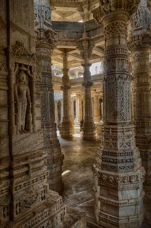 Exterior towers and columns of  Chaturmukha Dharana Vihara   Jain temple dedicated to Tirthankara Rishabhanatha, Ranakpur, Rajasthan, India 報道画像