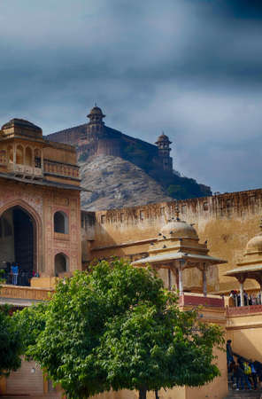 Defensive walls and gates of the Amber Fort, Jaipur, Rajasthan, India