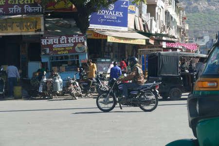 CHITTORGARH, INDIA - JAN 10, 2020 - Motorcycles in traffic on roads near  Chittorgarh in Rajasthan, India Editorial