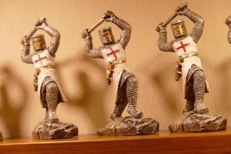 TOLEDO, SPAIN - MAR 2, 2020 -Crusader knights in white tunic, Toledo, Spain Redakční