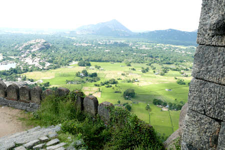 Spectacular ruined fortress on steep Rajagiri hill, 15th 16th century, Gingee, Tamil Nadu , India