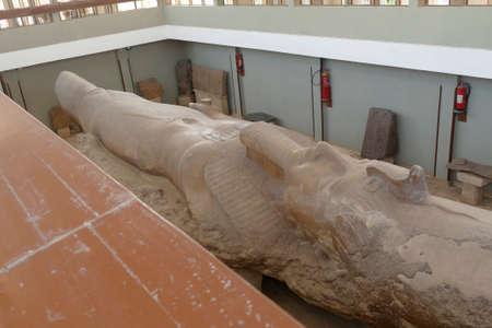 MEMPHIS, EGYPT - MAR 11, 2020 - Colossus of Rameses II ,  Memphis, Egypt