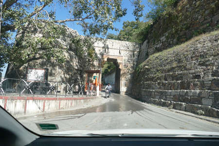 CHITTORGARH, INDIA - JAN 10, 2020 - Massive gates of  the ancient fort on the steep road  to the fortified city of Chittorgarh, Rajasthan, India 에디토리얼