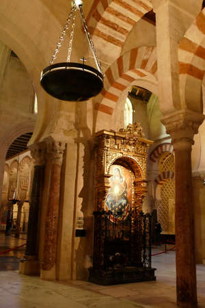 CORDOBA, SPAIN - MAR 4, 2020 - Arabic columns in the prayer hall of the former mosque coverted into theCathedral of Cordoba, Andalucia, Spain
