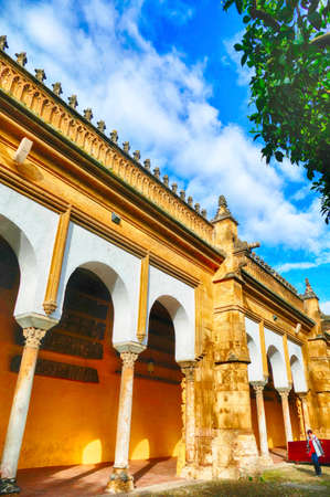 Collonaded arcade of the interior courtyard of the Mosque  Cathedral of Cordoba, Andalucia, Spain