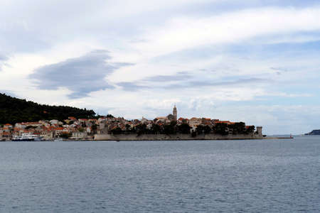 Fortified town of Korcula, approached from the Adriatic Sea,   Croatia