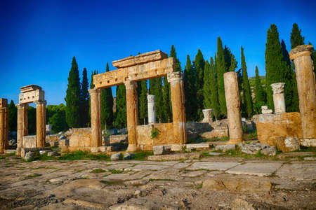 Toppled columns line the  ruins of collonaded street near the  Hierapolis, Turkey