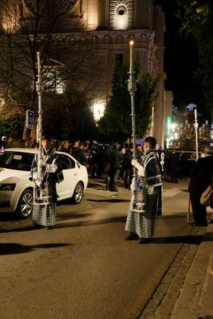 GRENADA, SPAIN - MAR 8, 2020 - Night procession for the festival of San Juan de Dios, Granada, Andalucia, Spain