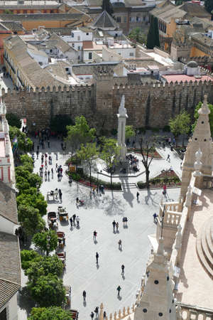 SEVILLE, SPAIN - MAR 6, 2020 - Aerial view of the pedestrian square near the Mosque  Cathedral of Sevilla, Andalucia, Spain