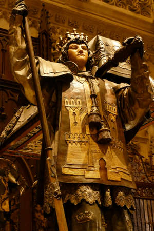 SEVILLE, SPAIN - MAR 6, 2020 - Mausoleum of Christopher Columbus in the Cathedral of Sevilla, Andalucia, Spain 에디토리얼