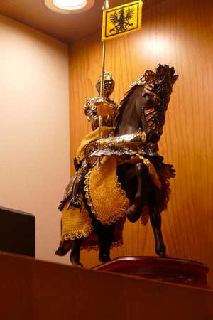 TOLEDO, SPAIN - MAR 2, 2020 - Medieval knight in armor on horseback, Toledo, Spain