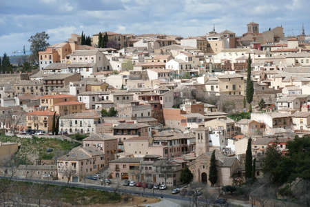 Hillside buildings of the old city of Toledo, Spain 에디토리얼