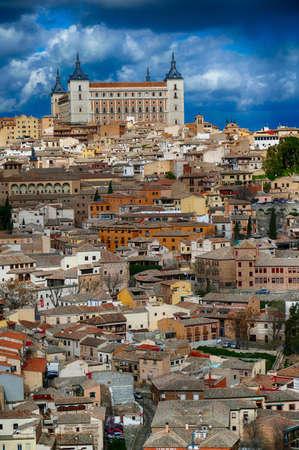 The Alcazar citadel on hill above Toledo, Spain