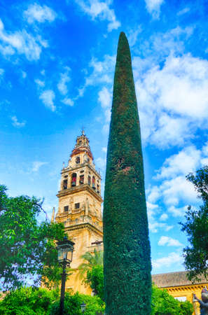 Converted minaret belltower of the Mosque  Cathedral of Cordoba, Andalucia, Spain 에디토리얼