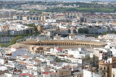 Aerial view of the old city from the belltower of the  cathedral of Sevilla, Andalucia, Spain