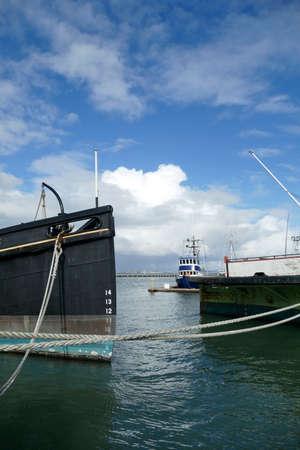 SAN FRANCISCO - NOV 27, 2019 - Hercules steam powered tugboat at anchor,  San Francisco Maritime National Historical Park,  California