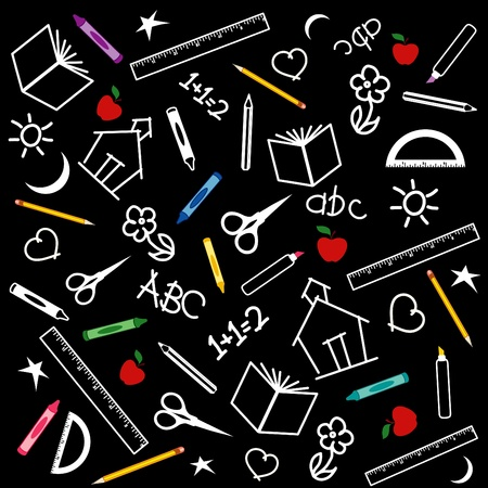 Back to school blackboard background with pens, pencils, crayons, scissors, rulers, apples, books, math, ABCs, doodles, schoolhouses.
