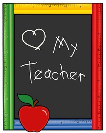 Love My Teacher Blackboard, veelkleurig heerser frame, rode appel. EPS10.