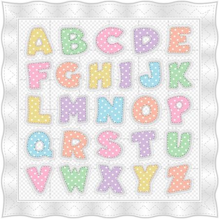 alfabeto: Alfabeto de beb� tejido, patr�n tradicional, topos pastel, mo�a, borde de sat�n blanco, puntos de sutura. EPS10. Vectores