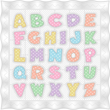 quilted fabric: Alphabet Baby Quilt, traditional pattern, pastel polka dots, gingham, white satin border, stitches. EPS10. Illustration