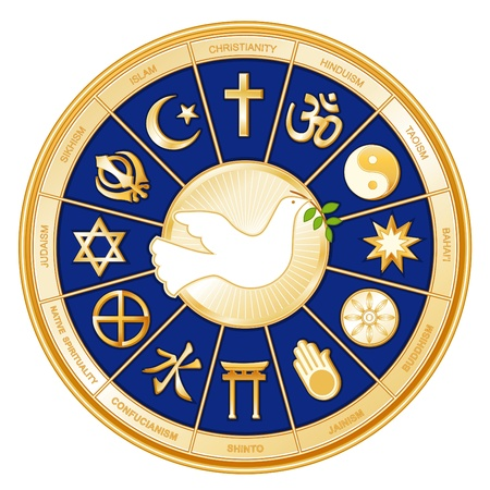 Dove of Peace, World of Faith, 12 global religions on gold mandala. EPS10. Vector
