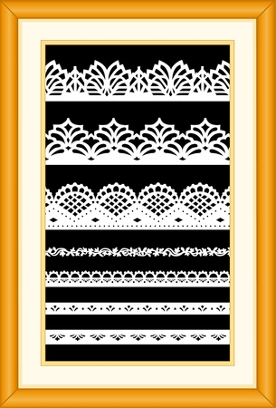 Antique Lace Sampler, Oak Frame. EPS10