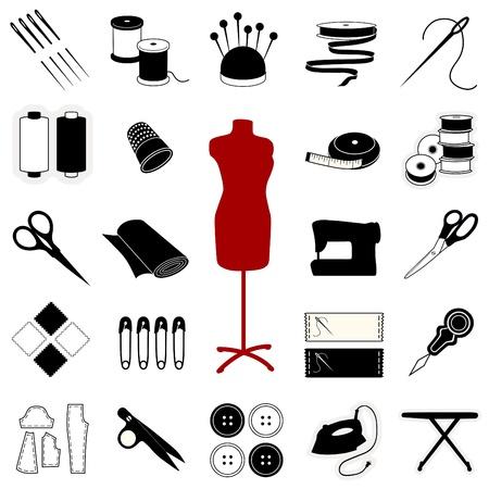 sew: Naaien, afstemming, handwerk, quilten, textiel kunst, ambacht Icons. EPS10.  Stock Illustratie
