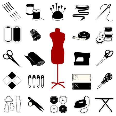 Sewing, Tailoring, Needlework, Quilting, Textile Arts, Crafts Icons. EPS10.  Vector