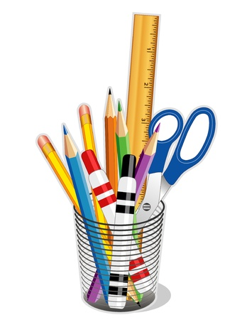 Writing, Drawing Tools for business, home, back to school. EPS10.