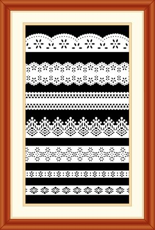 sampler: Lace Sampler. Vintage laces in cherry wood picture frame with mat.