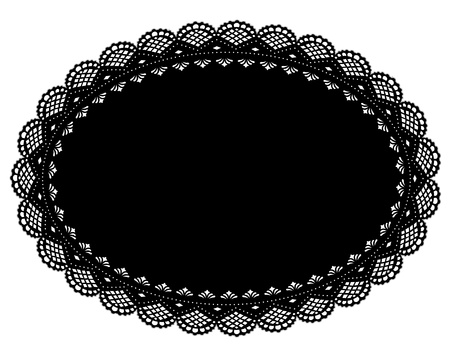 Black Lace Doily Placemat for setting table, cake decorating, home decor, celebrations, holidays, scrapbooks, arts, crafts. Vector