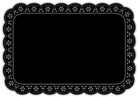 플레이스 매트, 테이블, 케이크 장식, 가정 장식, 행사, 공휴일, 스크랩북, 예술, 공예를 설정하는 검은 구멍 레이스 냅킨입니다. ING, 행사, 공휴일, 스크 일러스트