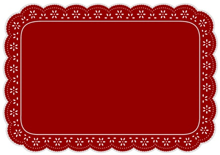 Placemat, Red eyelet lace doily for setting table, cake decorating, home decor, celebrations, holidays, scrapbooks, arts, crafts. Vector