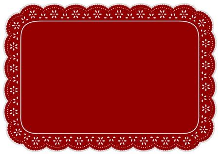 festonati: Tovaglietta, Rosso occhiello centrino di pizzo per apparecchiare la tavola, decorazione di torte, decorazioni per la casa, feste, vacanze, album, arte, artigianato.