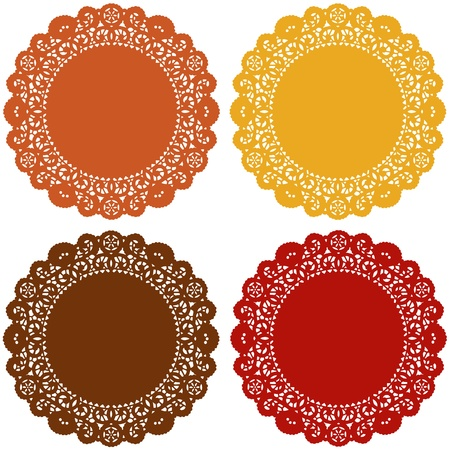 scalloped: Harvest Lace Doilies. Vintage placemats for Thanksgiving celebrations, setting table, cake decorating, scrapbooks, copy space.