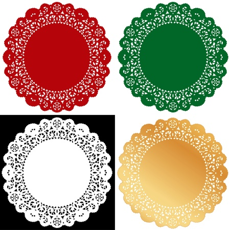 Christmas Lace Doilies. Vintage placemats for holiday celebrations, setting table, cake decorating, scrapbooks,copy space. Zdjęcie Seryjne - 11125856